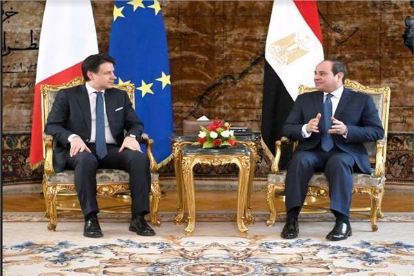 السيسي: مهتمون بتطوير علاقات التعاون مع إيطاليا للتصدي للتحديات الإقليمية